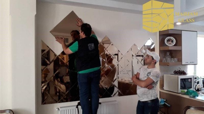 طریقه نصب آینه روی دیوار