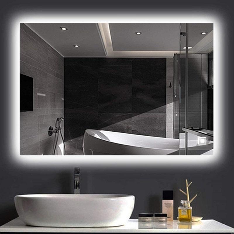 نورپردازی سرویس بهداشتی با آینه نورمخفی