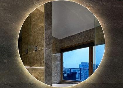 Bathroom lighting with hidden light mirror